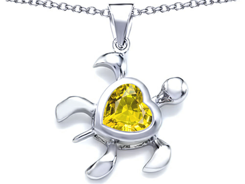 Star K 10mm Heart-Shape Simulated Citrine Sea Turtle Pendant Necklace Sterling Silver