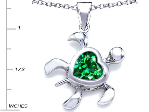 Star K 10mm Heart-Shape Simulated Emerald Sea Turtle Pendant Necklace Sterling Silver