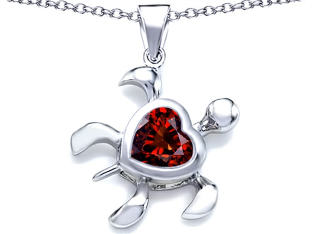 Star K 10mm Heart-Shape Simulated Garnet Sea Turtle Pendant Necklace Sterling Silver