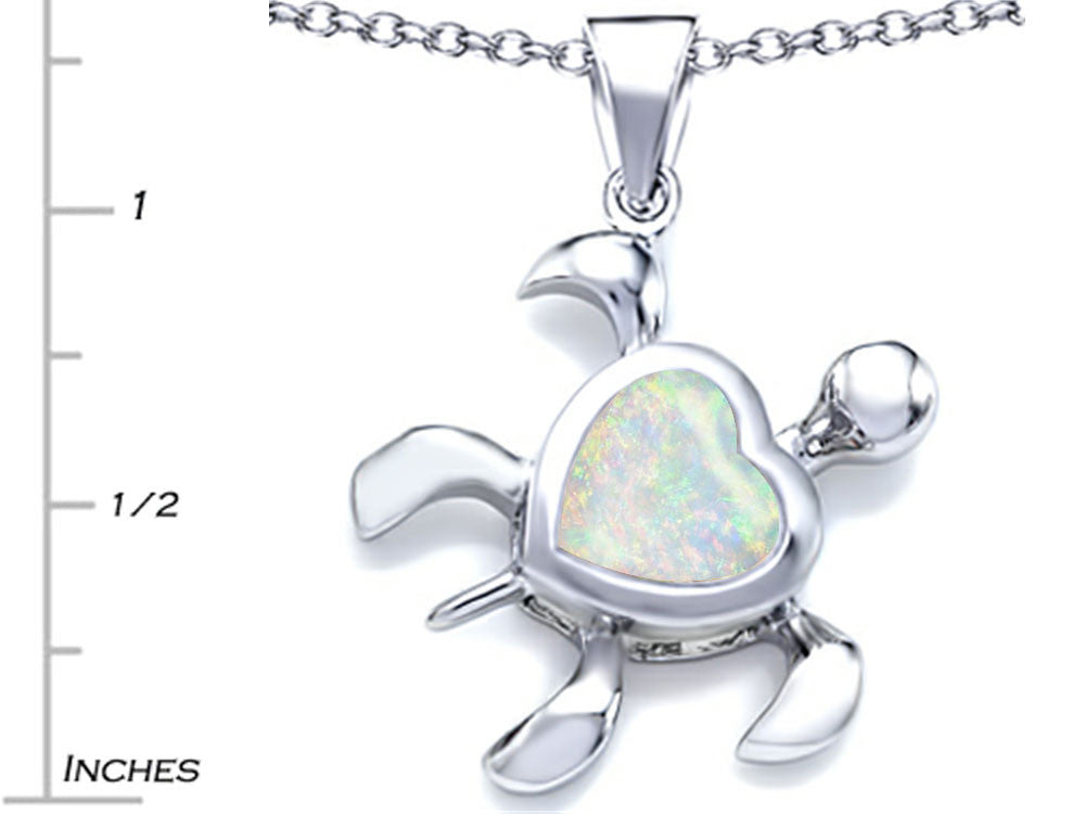 Star K 10mm Heart-Shape Created Opal Sea Turtle Pendant Necklace Sterling Silver