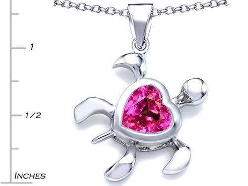 Star K 10mm Heart-Shape Created Pink Sapphire Sea Turtle Pendant Necklace Sterling Silver
