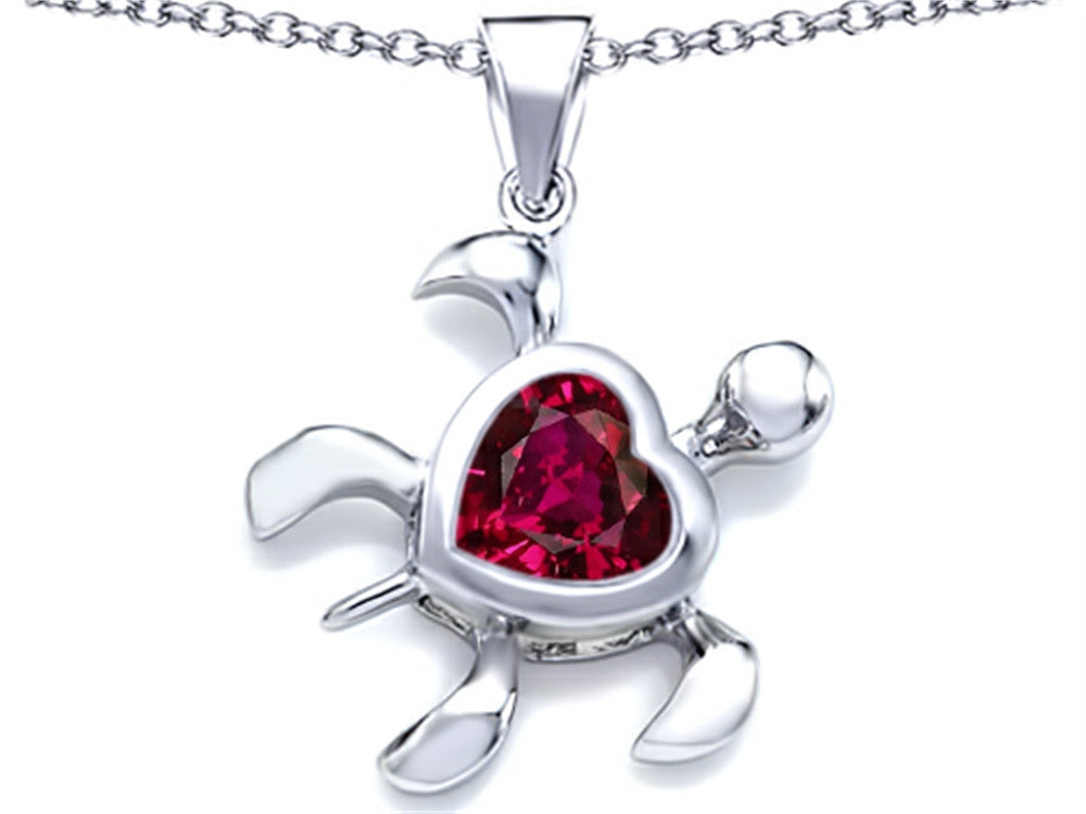 Star K 10mm Heart-Shape Created Ruby Sea Turtle Pendant Necklace Sterling Silver