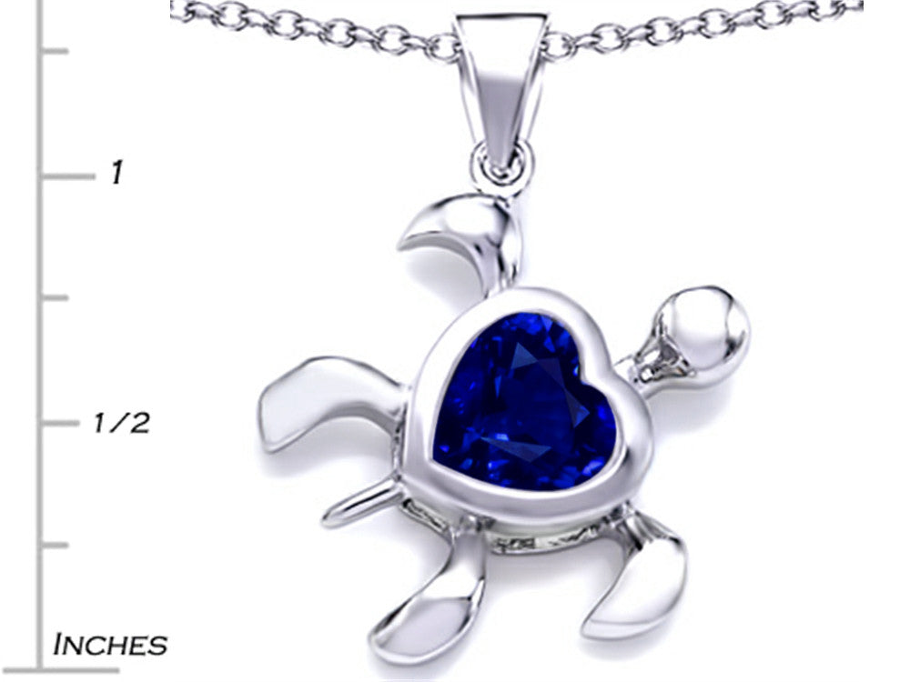 Star K 10mm Heart-Shape Simulated Sapphire Sea Turtle Pendant Necklace Sterling Silver