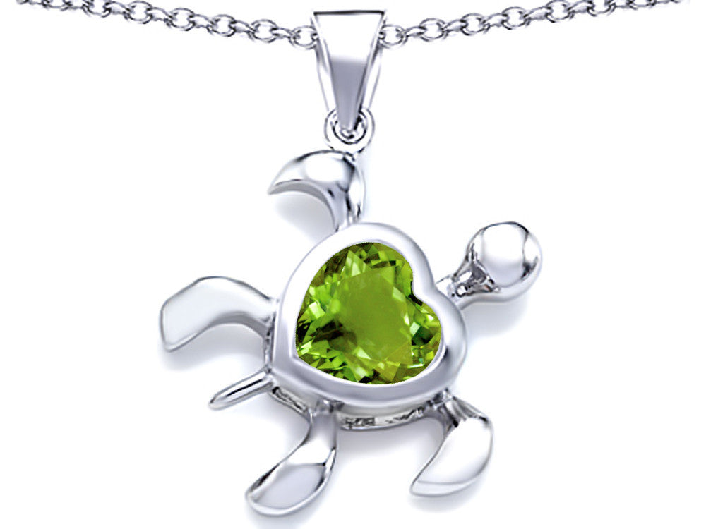 Star K 10mm Heart-Shape Simulated Peridot Sea Turtle Pendant Necklace Sterling Silver