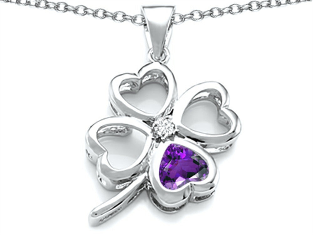 Star K 7mm Heart-Shape Simulated Amethyst Lucky Clover Heart Pendant Necklace Sterling Silver