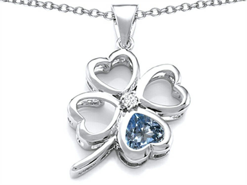 Star K 7mm Heart-Shape Simulated Aquamarine Lucky Clover Heart Pendant Necklace Sterling Silver
