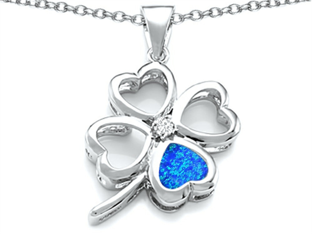 Star K 7mm Heart-Shape Blue Created Opal Lucky Clover Heart Pendant Necklace Sterling Silver