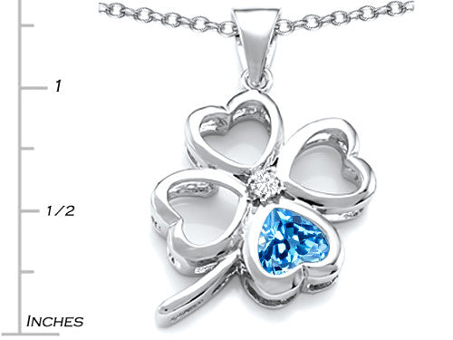 Star K 7mm Heart-Shape Simulated Blue-Topaz Lucky Clover Heart Pendant Necklace Sterling Silver
