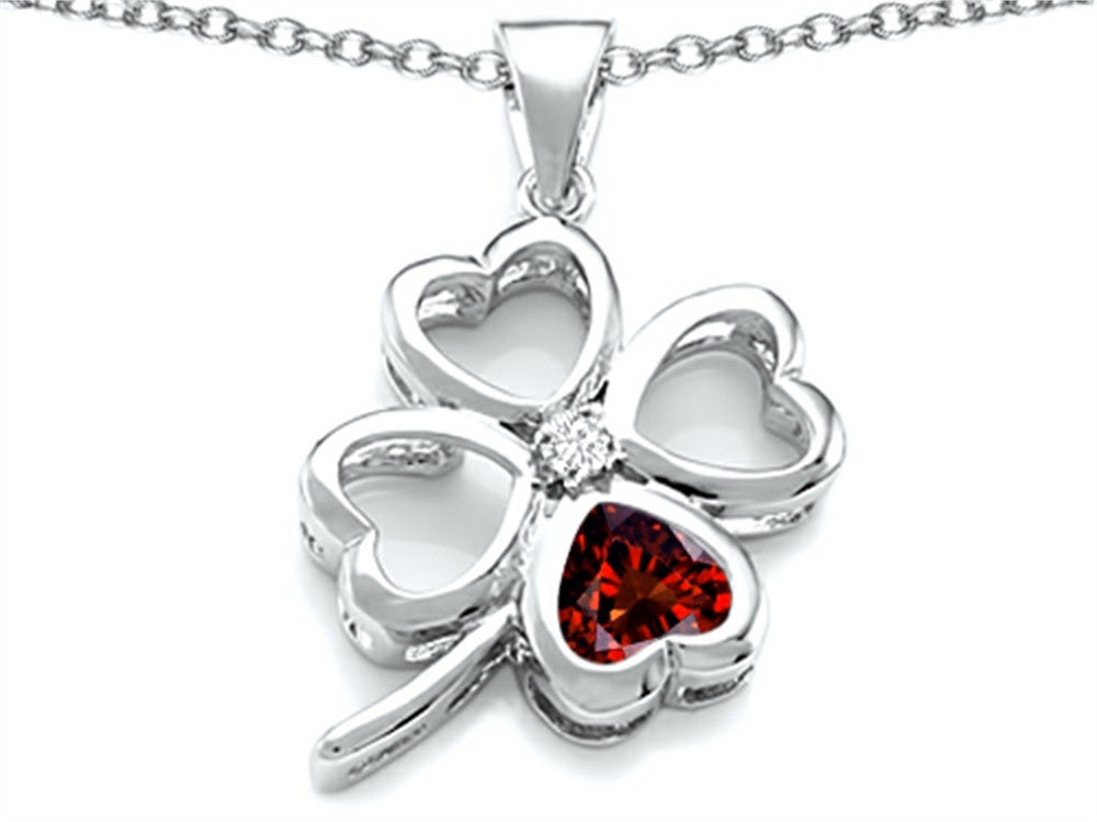 Star K 7mm Heart-Shape Simulated Garnet Lucky Clover Heart Pendant Necklace Sterling Silver