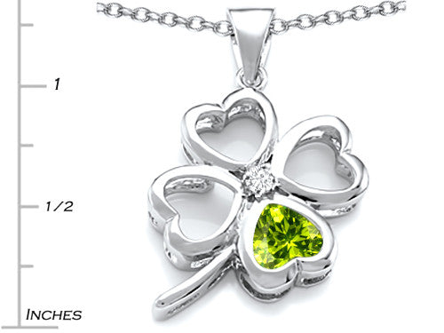 Star K 7mm Heart-Shape Simulated Peridot Lucky Clover Heart Pendant Necklace Sterling Silver