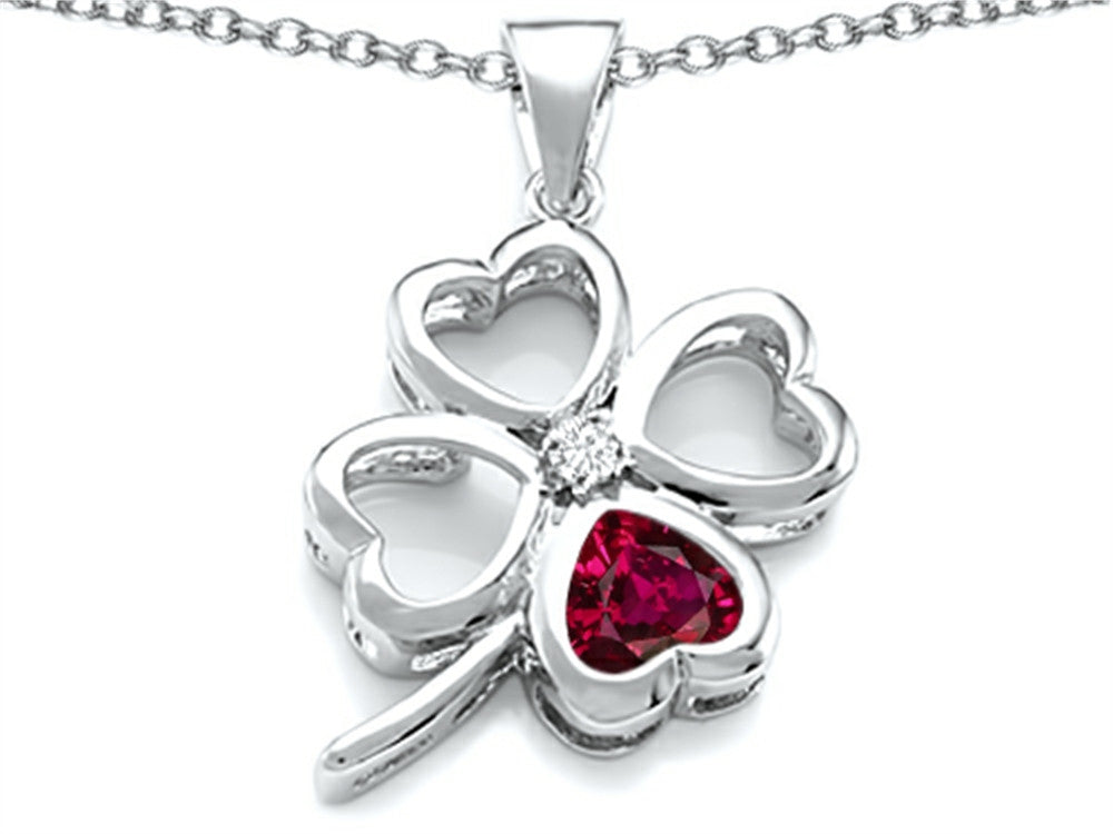 Star K 7mm Heart-Shape Created Ruby Lucky Clover Heart Pendant Necklace Sterling Silver