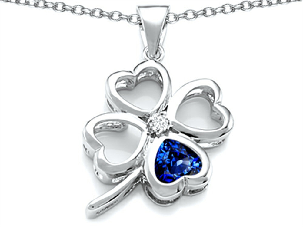 Star K 7mm Heart-Shape Created Sapphire Lucky Clover Heart Pendant Necklace Sterling Silver