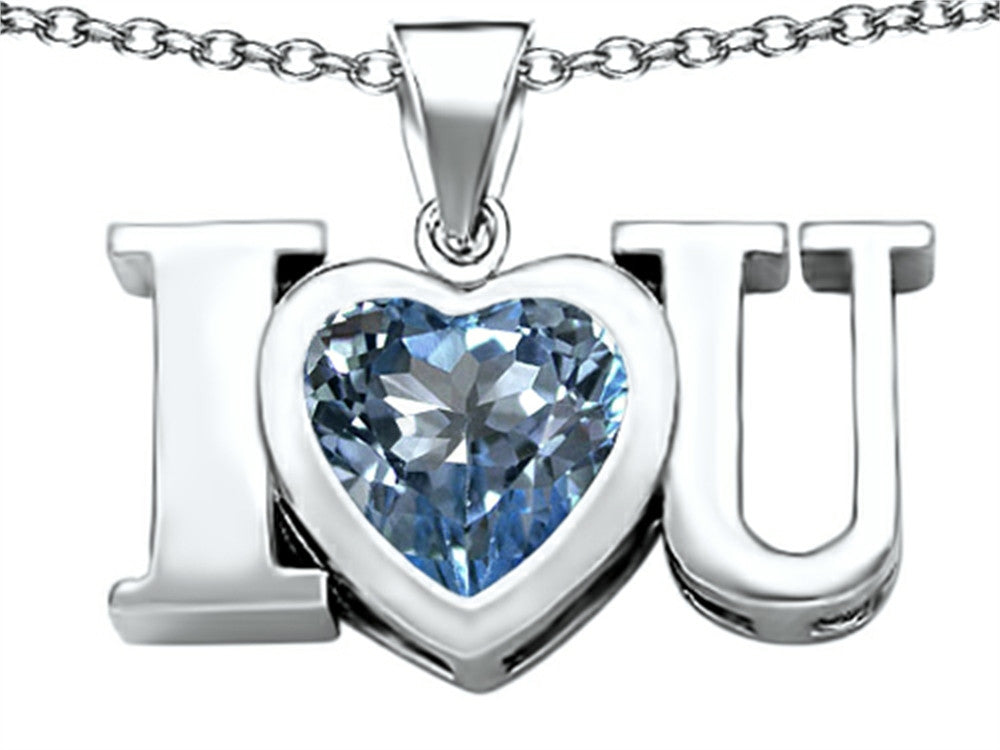 Star K 8mm Heart-Shape Simulated Aquamarine I Love You Heart Pendant Necklace Sterling Silver