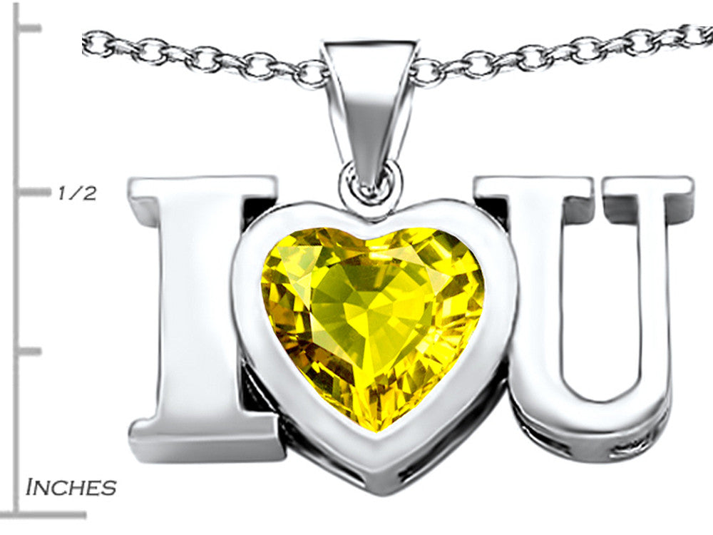 Star K 8mm Heart-Shape Simulated Citrine I Love You Heart Pendant Necklace Sterling Silver