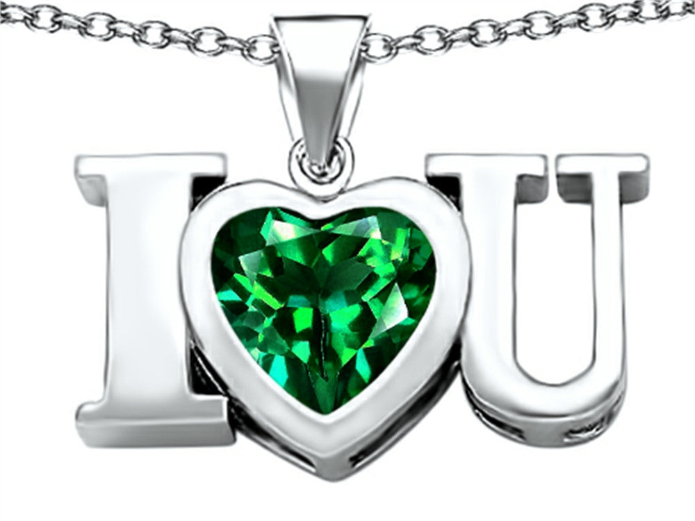 Star K 8mm Heart-Shape Simulated Emerald I Love You Heart Pendant Necklace Sterling Silver