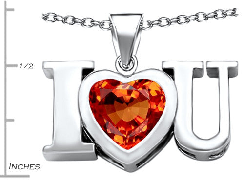 Star K 8mm Heart-Shape Simulated Mexican Orange Fire Opal I Love You Heart Pendant Necklace Sterling Silver