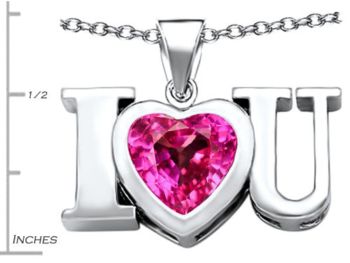 Star K 8mm Heart-Shape Created Pink Sapphire I Love You Heart Pendant Necklace Sterling Silver