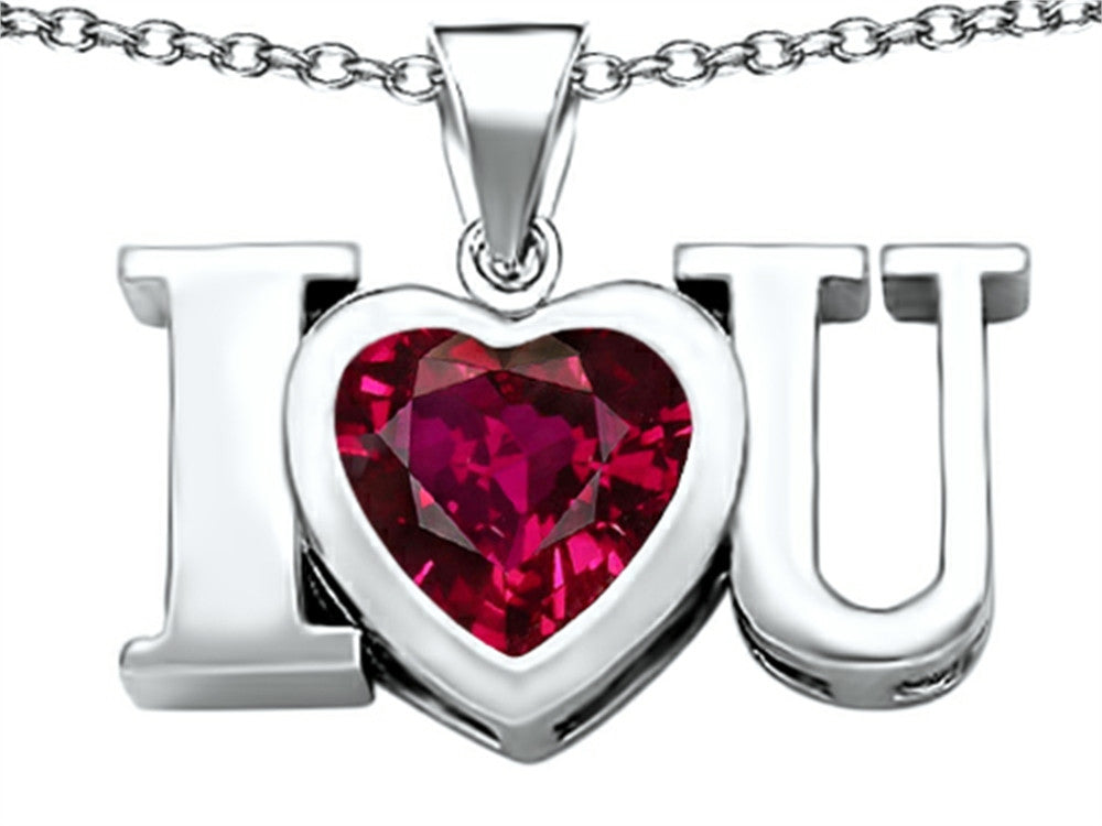 Star K 8mm Heart-Shape Created Ruby I Love You Heart Pendant Necklace Sterling Silver
