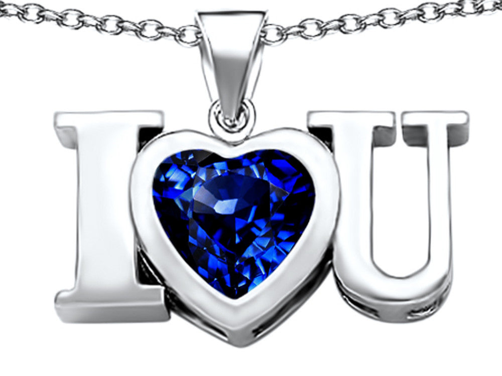 Star K 8mm Heart-Shape Created Sapphire I Love You Heart Pendant Necklace Sterling Silver