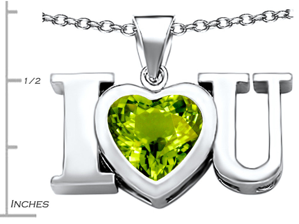 Star K 8mm Heart-Shape Simulated Peridot I Love You Heart Pendant Necklace Sterling Silver