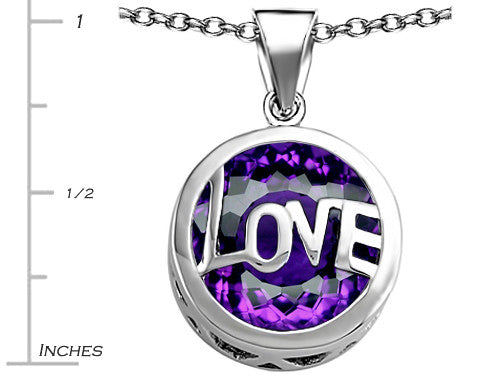 Star K Love Round Pendant Necklace with 15mm Round Simulated Amethyst Sterling Silver
