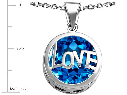 Star K Love Round Pendant Necklace with 15mm Round Simulated Blue-Topaz Sterling Silver