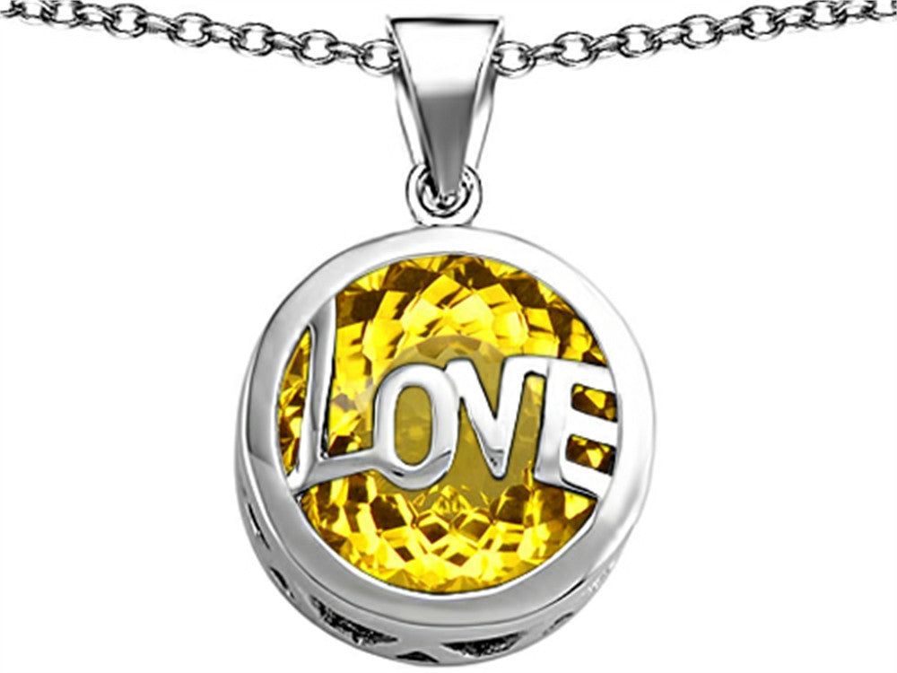 Star K Love Round Pendant Necklace with 15mm Round Simulated Citrine Sterling Silver