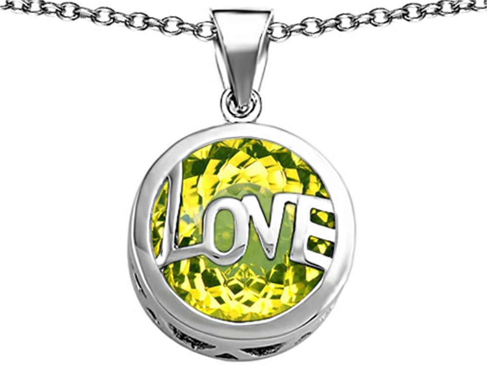 Star K Love Round Pendant Necklace with 15mm Round Simulated Peridot Sterling Silver