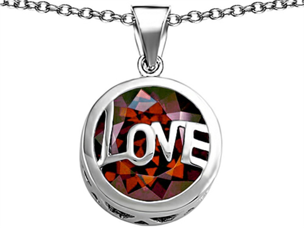 Star K Love Round Pendant Necklace with 15mm Round Simulated Garnet Sterling Silver