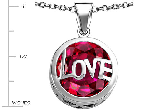 Star K Love Round Pendant Necklace with 15mm Round Created Ruby Sterling Silver
