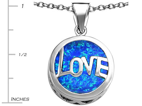 Star K Love Round Pendant Necklace with 15mm Round Blue Created Opal Sterling Silver