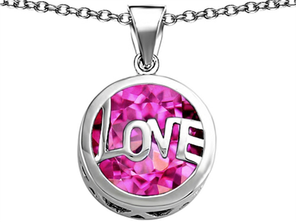 Star K Love Round Pendant Necklace with 15mm Round Created Pink Sapphire Sterling Silver