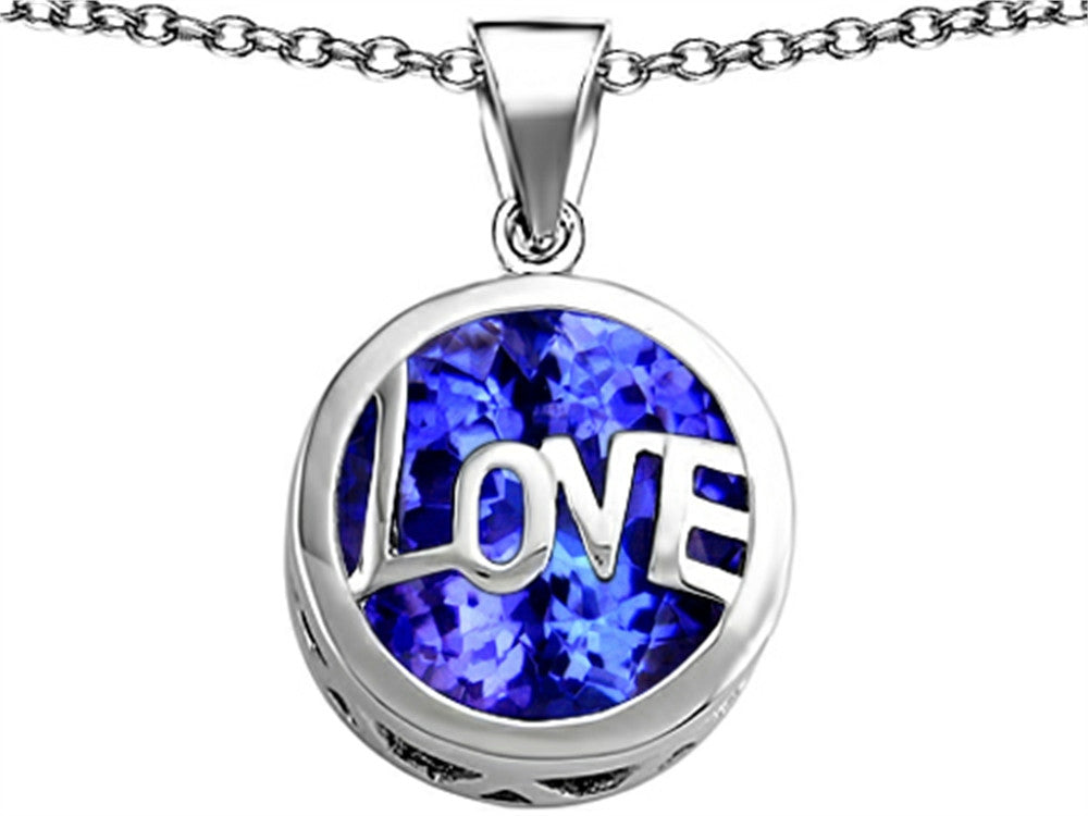 Star K Love Round Pendant Necklace with 15mm Round Created Sapphire Sterling Silver