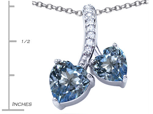 Star K 8mm and 7mm Heart-Shape Simulated Aquamarine Double Hearts Pendant Necklace Sterling Silver