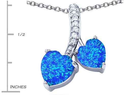 Star K 8mm and 7mm Heart-Shape Blue Created Opal and Cubic Zirconia Double Hearts Pendant Necklace Sterling Silver