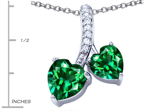 Star K 8mm and 7mm Heart-Shape Simulated Emerald Double Hearts Pendant Necklace Sterling Silver