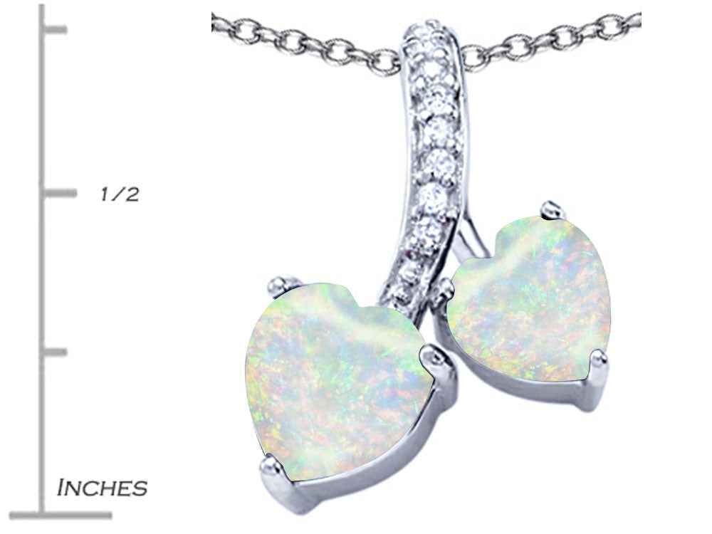 Star K 8mm and 7mm Heart-Shape Created Opal and Cubic Zirconia Double Hearts Pendant Necklace Sterling Silver