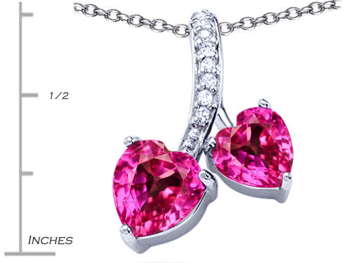 Star K 8mm and 7mm Heart-Shape Created Pink Sapphire Double Hearts Pendant Necklace Sterling Silver