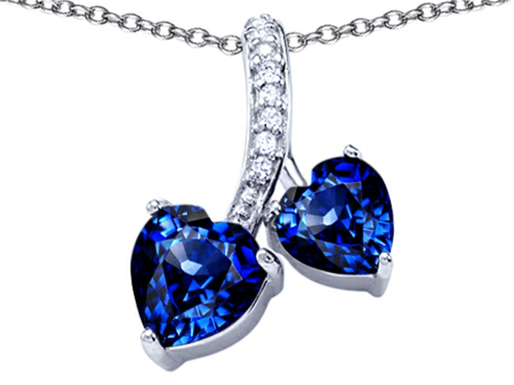 Star K 8mm and 7mm Heart-Shape Created Sapphire Double Hearts Pendant Necklace Sterling Silver