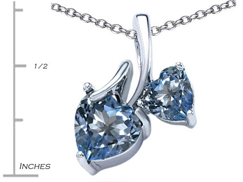 Star K 8mm and 6mm Heart-Shape Simulated Aquamarine Double Hearts Pendant Necklace Sterling Silver