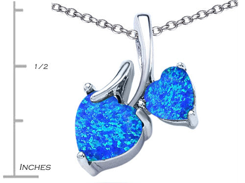 Star K 8mm and 6mm Heart-Shape Blue Created Opal and Cubic Zirconia Double Hearts Pendant Necklace Sterling Silver