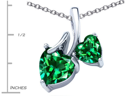 Star K 8mm and 6mm Heart-Shape Simulated Emerald Double Hearts Pendant Necklace Sterling Silver