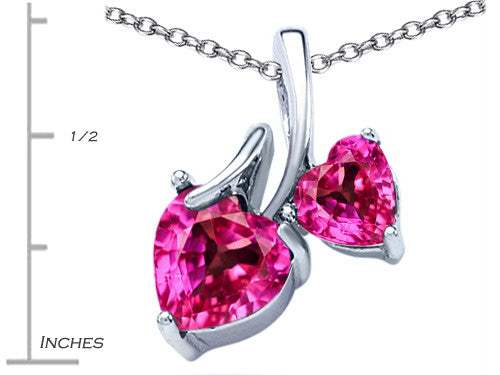 Star K 8mm and 6mm Heart-Shape Created Pink Sapphire Double Hearts Pendant Necklace Sterling Silver