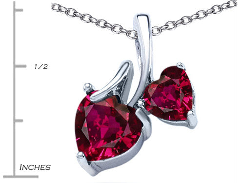 Star K 8mm and 6mm Heart-Shape Created Ruby Double Hearts Pendant Necklace Sterling Silver