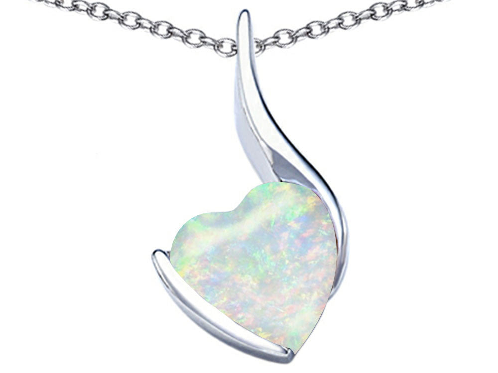 Star K 10mm Heart-Shape Created Opal Heart Pendant Necklace Sterling Silver