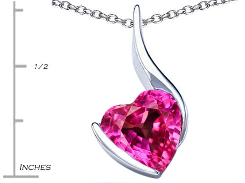 Star K 10mm Heart-Shape Created Pink Sapphire Heart Pendant Necklace Sterling Silver