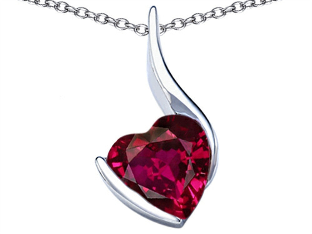 Star K 10mm Heart-Shape Created Ruby Heart Pendant Necklace Sterling Silver
