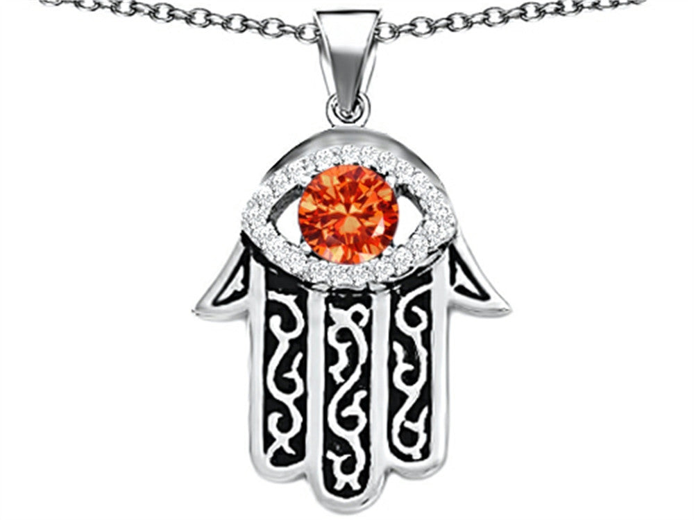 Star K Good Luck Hamsa Evil Eye Protection Pendant Necklace with Round Simulated Mexican Fire Opal Sterling Silver