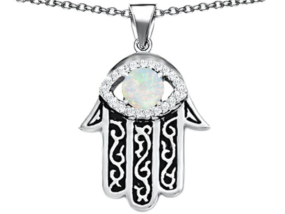 Star K Good Luck Hamsa Evil Eye Protection Pendant Necklace with Round Created Opal Sterling Silver