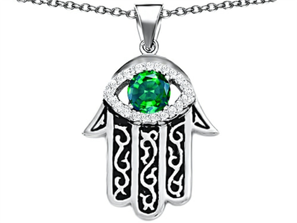 Star K Good Luck Hamsa Evil Eye Protection Pendant Necklace with Round Simulated Emerald Sterling Silver